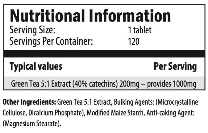 green tea nutrition info